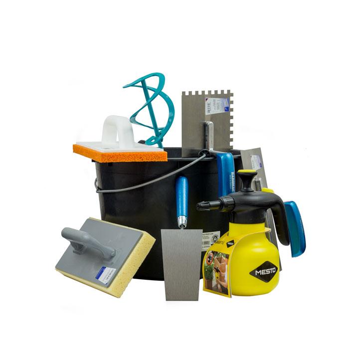 Werkzeug Sparpack XL bestehend aus Baueimer, Profi Wendelrührer, Putzkelle, Glättkelle gezahnt 8x8mm, Reibbrett, Glättkelle, Hydro-Waschbrett, Profi Drucksprüher