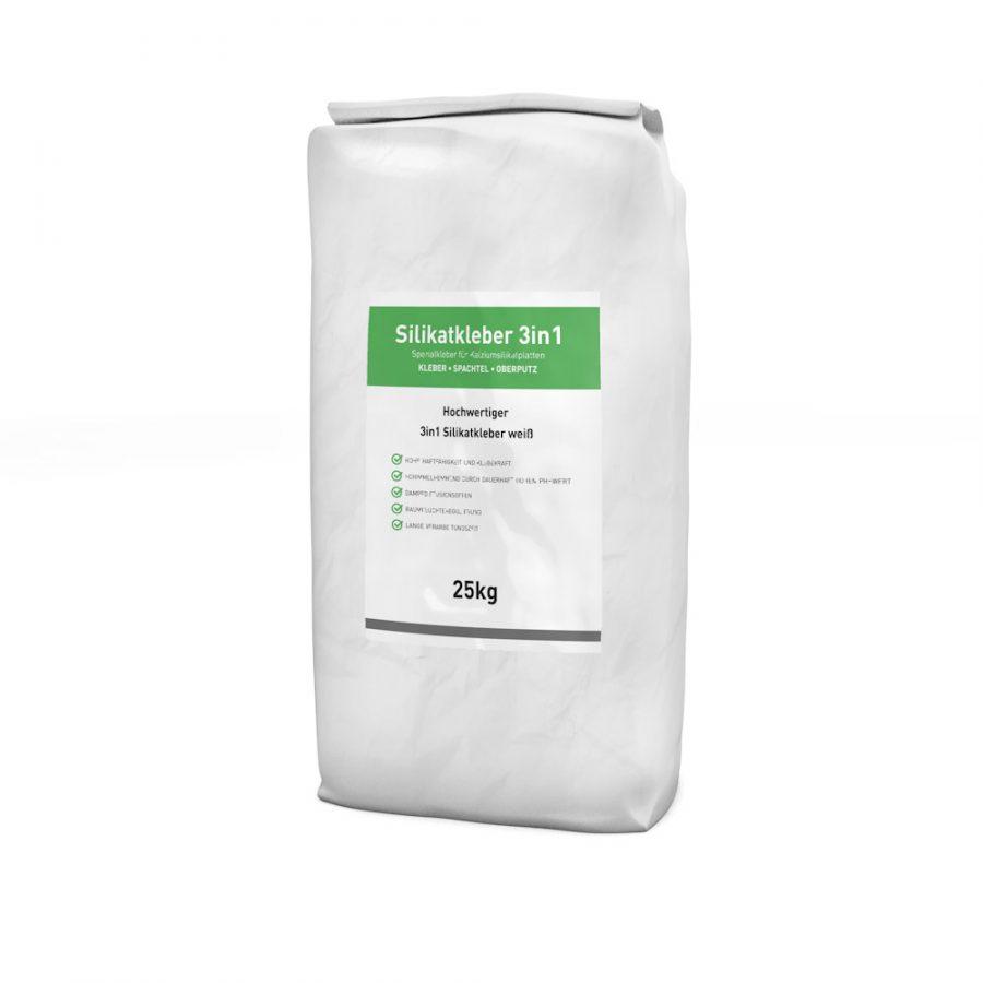 Silikatkleber 3in1 in weiß 25kg Sack zum kleben, spachteln und armieren. Auch als Oberputz geeignet!