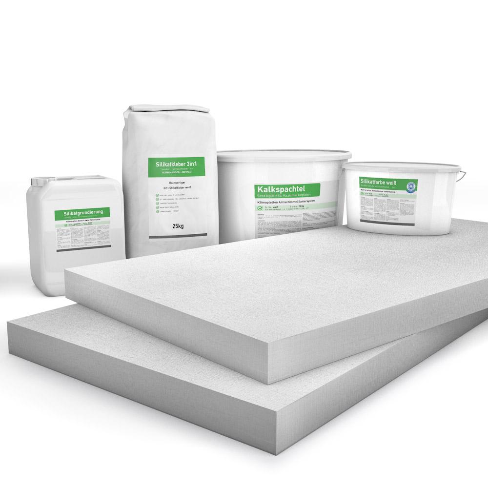 Kombi Sparpack P4 mit 50mm Kalziumsilikatplatten, Silikatgrundierung, Silikatkleber, Kalkspachtel und Silikatfarbe