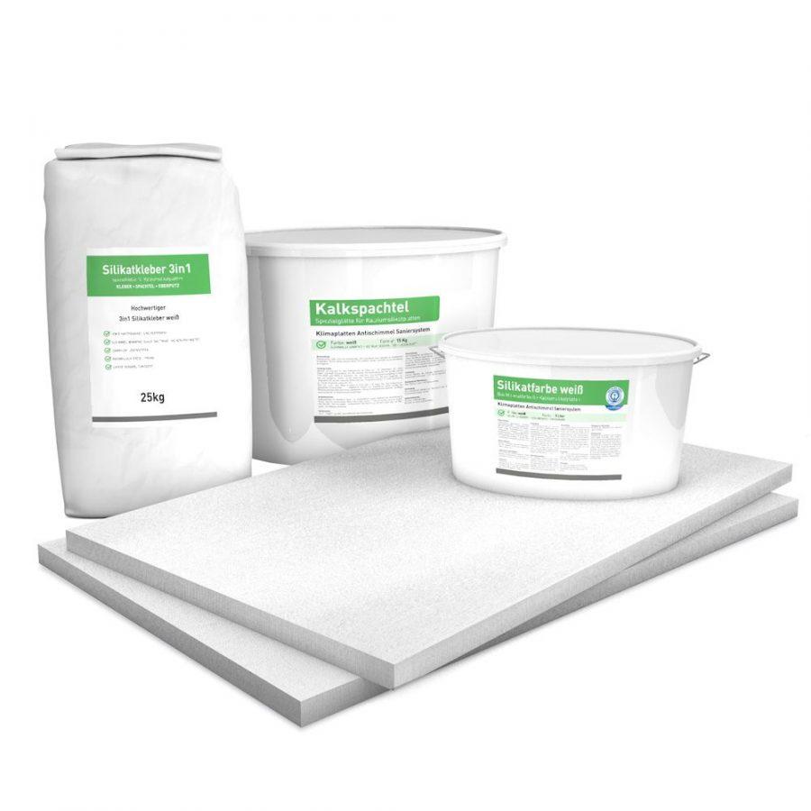 30 mm Sparpack mit vorgrundierten Kalziumsilikatplatten (1.000 mm x 625 mm), Silikatkleber, Kalkspachtel & Silikatfarbe zur Innendämmung